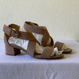 NWOT suede nude cross strap block heel